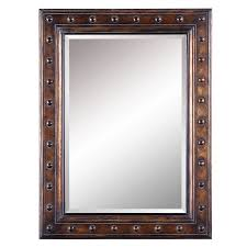 allen roth 40 in l x 30 in w bronze beveled wall mirror