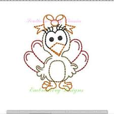 Mini Turkey Embroidery Design Turkey Girl Bow Vintage Stitch Embroidery Design Thanksgiving Mascot Football Southern Baby Classics