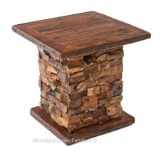 rustic end tables. Rustic End Table With Stacked Wood Base Tables U