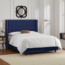 amazoncom skyline furniture nail button tufted wingback king bed