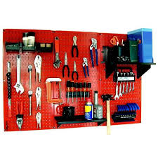 red pegboard and black peg accessories