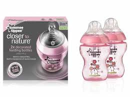 Tommee Tippee Pink Decorated Bottles Closer to Nature 100ml Twin Pack Decorated PP Bottles 16