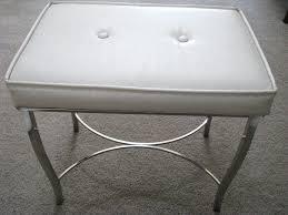 Vanity Seat For Bathroom Modern Vintage Chrome White Vinyl Padded Bench  Stool By Vanities