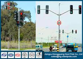 Traffic Light Pole Q235 Conical Round Polygonal Double Arms Traffic Light