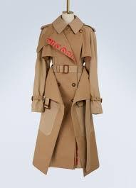alexander mcqueen coats womens logo cotton trench coat beige