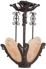 a muller frères art deco frosted peach glass and wrought iron chandelier circa 1925 by