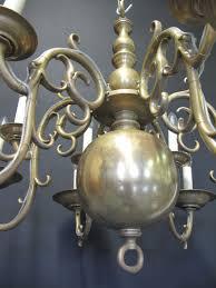 6 arm 12 light dutch style chandelier ca 1880