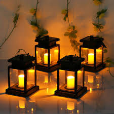 4x outdoor solar powered led candle lantern light garden path wall carriage lamp