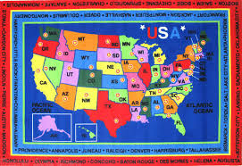 details about 8x11 area rug educational state capitals map united states america usa new