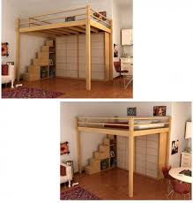 loft bed with container steps this is what i want but would have a desk and more book shelves underneath build one for a full size bed