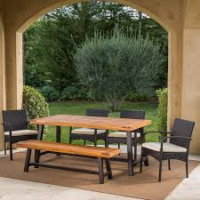 great deal furniture beryl outdoor 6 piece rustic metal iron and sandblast finished acacia wood dining set with 4 multibrown wicker dining chairs and crème