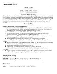 Examples Of Resume Skills Resume Work Template