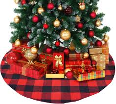 Christmas Design Checks Atlin Buffalo Plaid Christmas Tree Skirt Larger 3 Inch Red And Black Checks For A Traditional Look Machine Wash And Dry 3 Ft And 4 Ft Diameter