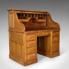 antique roll top desk english oak victorian lock tambour circa