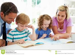 Smiling Parents Helping With Homework Stock Image   Image              RF Stock Photos Difficulties with homework