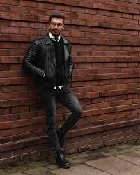 black leather jacket black sweater white shirt skinny tie black jeans