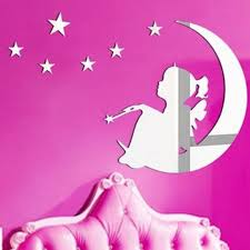 wsm2065 magic tinker bell moon and stars mirror wall art