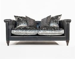 alexander james isabel midi sofa in tote night leather and velvet fabric