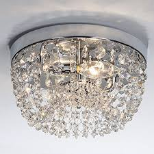 glanzhaus small style 9 84 chrome finish clear cystal chandelier 2 light flush mount ceiling light for hallway bar kitchen dining room kids room