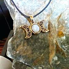 symbolic jewelry fabulous solid bronze triple moon pendant with mop cabochon celestial amulet irish meaning