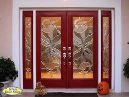 Red double front entry doors with double sidelights Tampa