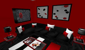 living room red white and black room ideas classic glass wall mount tv cream furry