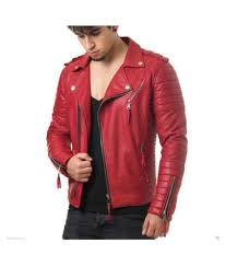 mens red leather reaver jacket leader chastang1