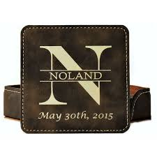 leather coasters monogramed personalized
