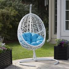 hanging egg chair with stand white resin wicker blue cushion outdoor patio yard