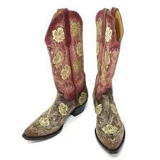 Old Gringo Womens Red Brown Floral Boots Size 8b