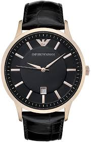 men s emporio armani classic black leather band watch ar2425 loading zoom
