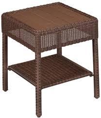 home furniture square steel patio porch decor brown wicker outdoor accent table