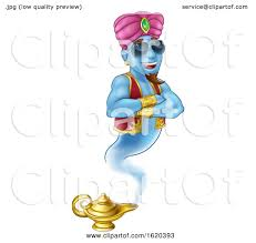 Cool Genie Magic Lamp Aladdin Pantomime Cartoon By