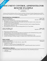 Gallery Of Document Control Administrator Resume Example