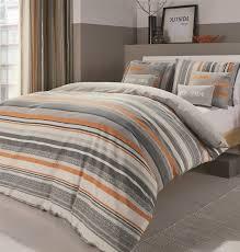 teenager striped reversible duvet cover bed sets orange