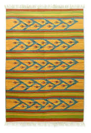 wool dhurrie rug summer 4x6 fair trade geometric wool