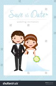 Cartoon Wedding Invitation Cards Designs Wedding Invitation Card Groom Bride Cartoon Stock Vector