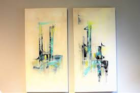 saatchi art artist angela bisson painting mid century modern twin abstract paintings