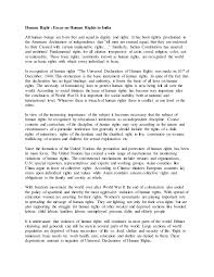 human right essay on human rights in