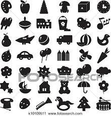 黒 シルエット おもちゃ クリップアート切り張りイラスト絵画集