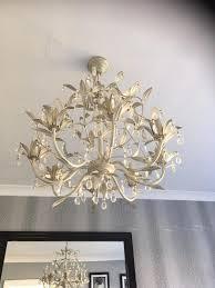 laura ashley lavenham cream and clear glass 8 light chandelier