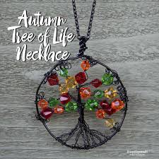 wire wrapped autumn tree of life necklace