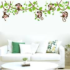 jungle wall decals jungle monkey tree branch wall stickers for kids room home decorations animal wall jungle wall decals