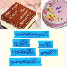 <b>6Pcs</b> Letter Fondant Cake Mold Decorating <b>DIY</b> Cutter Mould ...