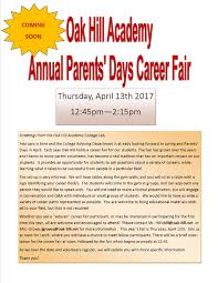 college planning oak hill academy virginia boarding school invitation for parents to participate in oha s career fair