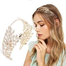 Haimekang เจาสาวหนาผาก Hairband Headband มงกฎทองโลหะ Hollow Leaf ออกแบบผม Hoop งานแตงงานอปกรณเสรมผมผหญง