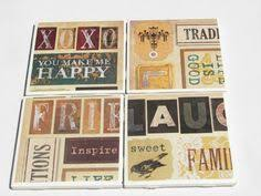 Decorative Tile Coasters 100 Tile Coasters in Vintage Abroad Theme by fromdirttodiamonds 79