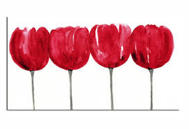 >red tulips line floral flower painting canvas art wall print 36 x 20