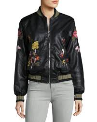 max studio fl embroidered faux leather jacket in black lyst