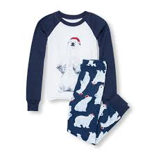 boys sleepwear the children s place off boys long raglan sleeve santa polar bear top and pants pj set